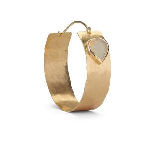 Flat Opal Hoop, 18 karat gold