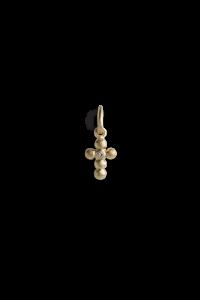 Cross Pendant with 1 Diamond, vergoldetem Sterlingsilber