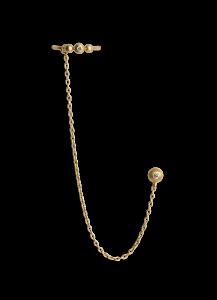 Kettenohrring mit Brillant-Earcuff, vergoldetem Sterlingsilber