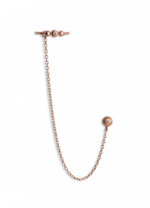 Kettenohrring mit Brillant-Earcuff, rosavergoldetem Sterlingsilber