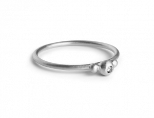 Small Diadem Ring, Sterlingsilber, 0.01 ct. Diamant