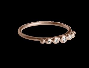 Big Diadem Ring, rosavergoldetem Sterlingsilber, 0.05 ct Brillanten