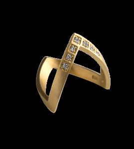 Diamond V Ring, vergoldetem Sterlingsilber
