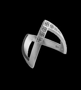Diamond V Ring, Sterlingsilber