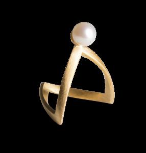 Perlen-V-Ring, vergoldetem Sterlingsilber