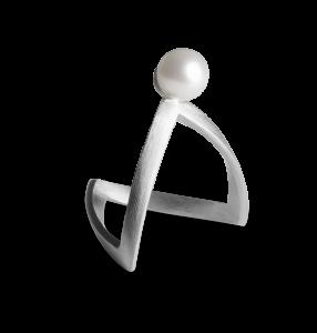 Perlen-V-Ring, Sterlingsilber