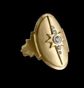 Diamond shield ring, vergoldetes Sterlingsilber