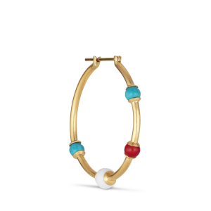 Splash Creole with turquoise, agate and coral, vergoldetem Silber