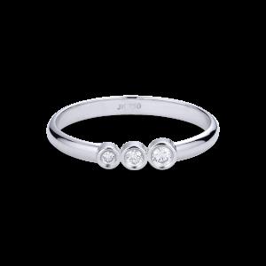 Einfacher Ehering mit 3 Diamanten, 0,095 ct. 18 Karat Weißgold