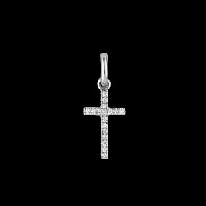 Small Cross Pendant, 18 Karat Weißgold, 0,04 ct. Diamanten