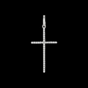 Big Cross Pendant, 18 Karat Weissgold, 0,098 ct. Diamanten