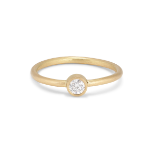 Princess ring, 18 Karat Gold, 0.10 ct Diamant, Röhrenset