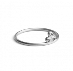 Diamond Temple Ring, Sterlingsilber