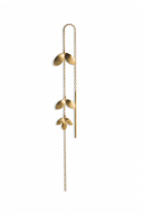 Chain Earring with Three Leaves, gold-plated silver