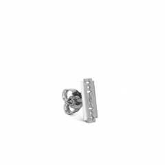 Razor Stud, rhodinated sterling silver