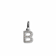 "Letter Pendant ""B"" with Diamonds, 18 carat white gold"
