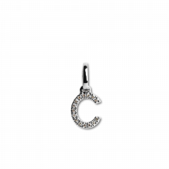 "Letter Pendant with Diamonds ""C"", 18 carat white gold"