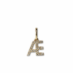 "Letter Pendant with Diamonds ""Æ"", 18 carat gold"