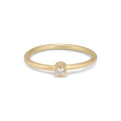 Princess ring, 18 Karat Gold, 0.03 ct Diamant, Röhrensatz