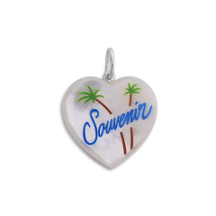 Souvenir Heart with enamel, anhänger, Sterlingsilber